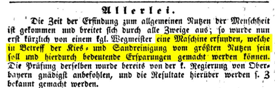 erste Sandreinigung wurde bereits 1839 erwähnt